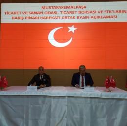 Mustafakemalpaşa TSO'dan Barış Pınarı Harekatı'na destek