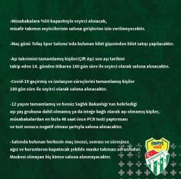 Frutti Extra Bursaspor'dan taraftarına maç öncesi bilgilendirme mesajı