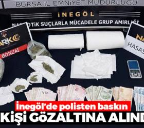 İnegöl'de polisten baskın; 7 gözaltı