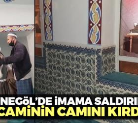 İnegöl'de imama saldırıp caminin camını kırdı