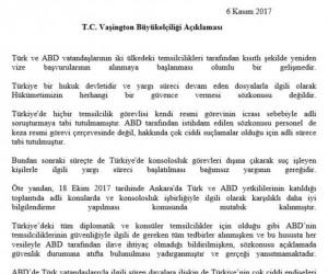 """Türkiye'nin ABD Büyükelçiliği: """"Yargı süreci devam eden dosyalarla ilgili olarak hükümetimizin herhangi bir güvence vermesi söz konusu değildir"""""""