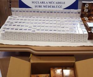 Kahve kutularına gizlenmiş 600 paket kaçak sigara yakalandı