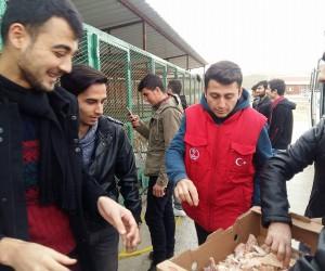 Yurttan artan yiyecekleri KYK öğrencileri hayvan barınağına götürüyor