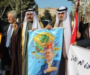 Suriyeliler ellerinde zeytin dallarıyla harekata destek verdi