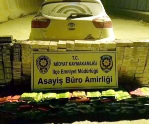Midyat'ta 320 karton kaçak sigara ve 170 kilogram nargile tütünü ele geçirildi