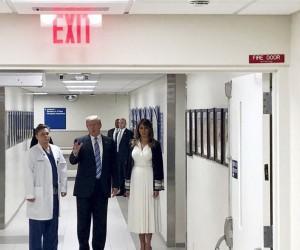 Trump, okul saldırısında yaralananları hastanede ziyaret etti