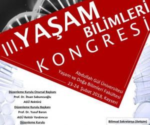 AGÜ'de III. Yaşam Bilimleri Kongresi yapılacak