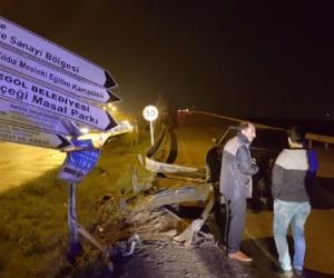 Yenice köprülü kavşakta feci kaza