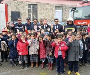 İbrahim Hakkı İlkokulu'nda yangın ve deprem tatbikatı