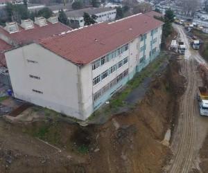 (Özel) Şişli Endüstri Meslek Lisesi'nde son durum havadan görüntülendi