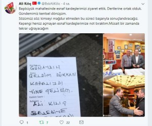 """Maltepe Belediye Başkanı Ali Kılıç'tan  esnafı gülümseten not: """"Geldim, dükkan kapalıydı"""""""