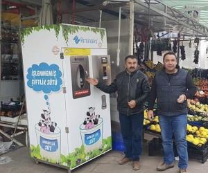 Ankaralılar çiğ sütünü artık süt otomatlarından alıyor