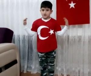 Okuma yazma bilmeyen çocuk İstiklal Marşını okudu, Afrin'e selam gönderdi