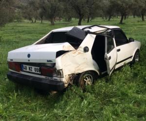 Milas'ta bir otomobil zeytinlik araziye uçtu; 1 yaralı