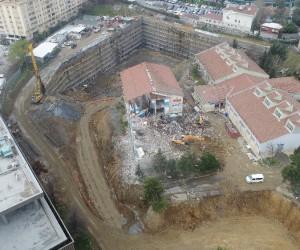 Şişli Endüstri Meslek Lisesindeki yıkım havadan görüntülendi