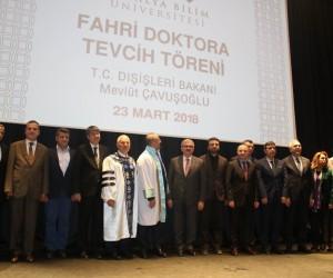 Çavuşoğlu'na memleketi Antalya'da fahri doktora unvanı