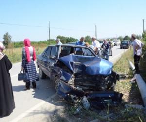 Hocaköy yolunda korkutan kaza