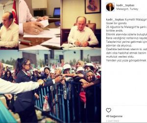 Başkan Topbaş, Instagram'dan Malazgirt'e mesaj gönderdi